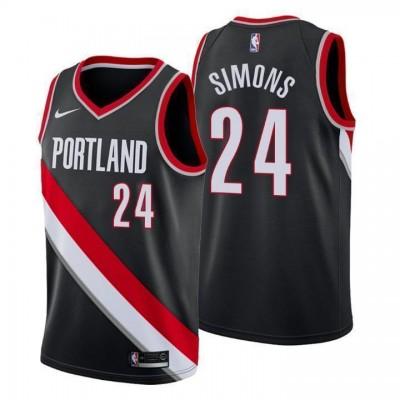 NBA Blazers 24 Anfernee Simons Black Nike Men Jersey