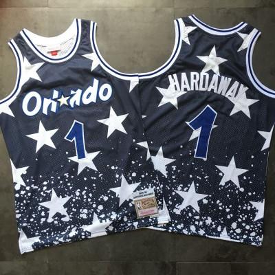 NBA Magic 1 Anfernee Hardaway Navy 1994-95 Hardwood Classics Men Jersey