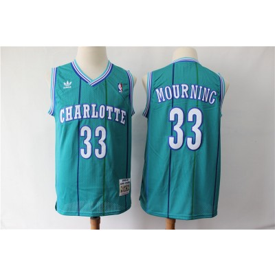 NBA Hornets Hornets 33 Alonzo Mourning Green 1992-93 Hardwood Classics Men Jersey
