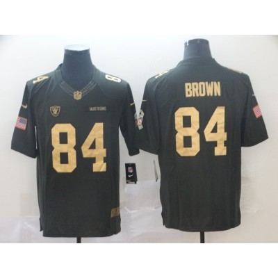 Nike Raiders 84 Antonio Brown Anthracite Gold Salute to Service Limited Men Jersey
