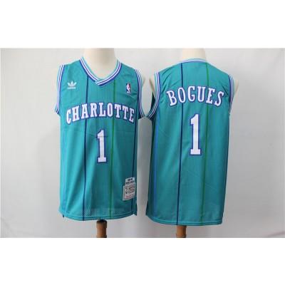 NBA Hornets Hornets 1 Muggsy Bogues Green 1992-93 Hardwood Classics Men Jersey