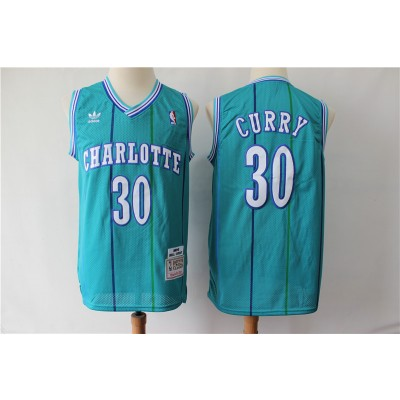 NBA Hornets 30 Dell Curry Light Blue Throwback Men Jersey
