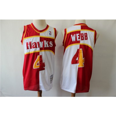 NBA Hawks 4 Spud Webb Red Whhite 1986-87 Hardwood Classics Men Jersey