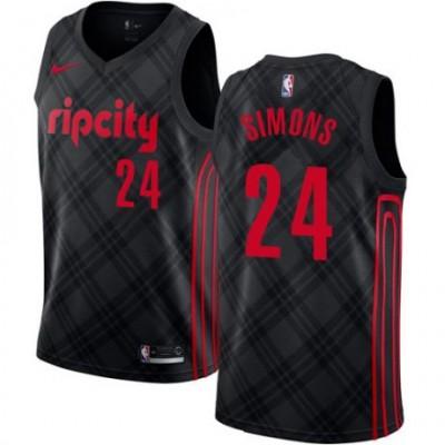 NBA Blazers 24 Anfernee Simons Black City Edition Nike Men Jersey