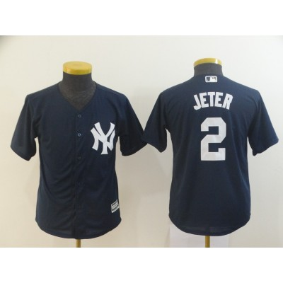 MLB Yankees 2 Derek Jeter Navy Cool Base Youth Jersey