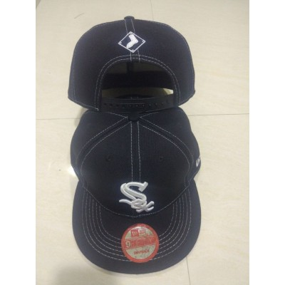 MLB White Sox Team Logo Black Adjustable Hat LT