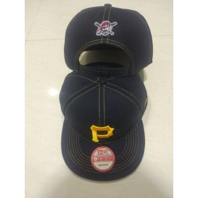 MLB Pirates Team Logo Black Adjustable Hat LT