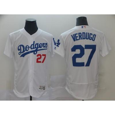 MLB Dodgers 27 Alex Verdugo White Flexbase Men Jersey
