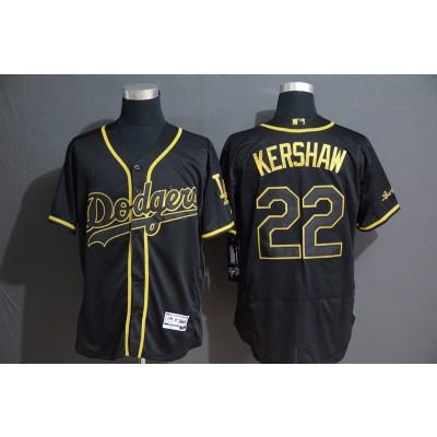 MLB Dodgers 22 Clayton Kershaw Black Gold Flexbase Men Jersey