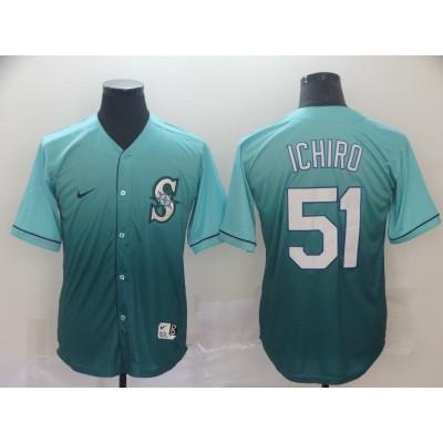 MLB Mariners 51 Ichiro Suzuki Green Drift Fashion Men Jersey