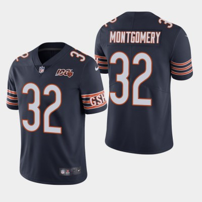 Nike Bears 32 David Montgomery Navy 100th Anniversary Vapor Untouchable Limited Men Jersey