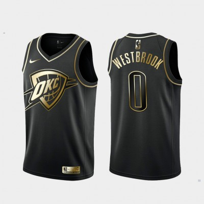 NBA Thunde 0 Russell Westbrook Black Gold Nike Men Jersey