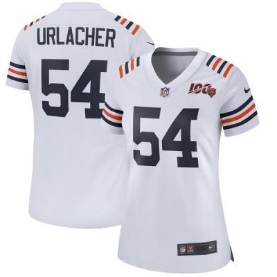 Nike Bears 54 Brian Urlacher White Alternate 100th Game Women Jersey