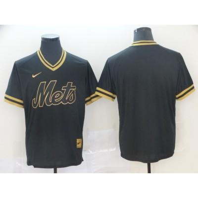 MLB Mets Blank Black Gold Nike Cooperstown Legend V Neck Men Jersey