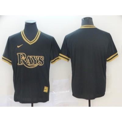 MLB Rays Blank Black Gold Nike Cooperstown Legend V Neck Men Jersey
