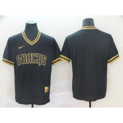 MLB Diamondbacks Blank Black Gold Nike Cooperstown Legend V Neck Men Jersey