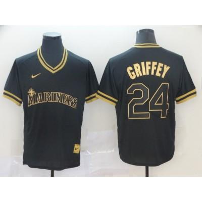 MLB Mariners 24 Ken Griffey Jr Black Gold Nike Cooperstown Legend V Neck Men Jersey