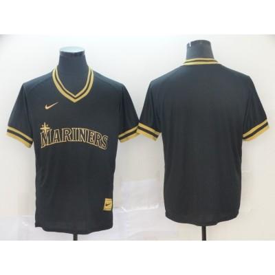 MLB Mariners Blank Black Gold Nike Cooperstown Legend V Neck Men Jersey