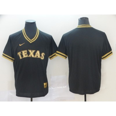 MLB Rangers Blank Black Gold Nike Cooperstown Legend V Neck Men Jersey