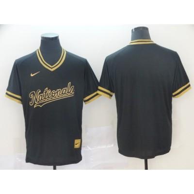 MLB Nationals Blank Black Gold Nike Cooperstown Legend V Neck Men Jersey