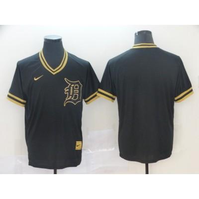 MLB Tigers Blank Black Gold Nike Cooperstown Legend V Neck Men Jersey