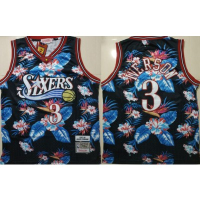 NBA 76ers 3 Allen Iverson Black 1997-98 Hardwood Classics Floral Fashion Men Jersey