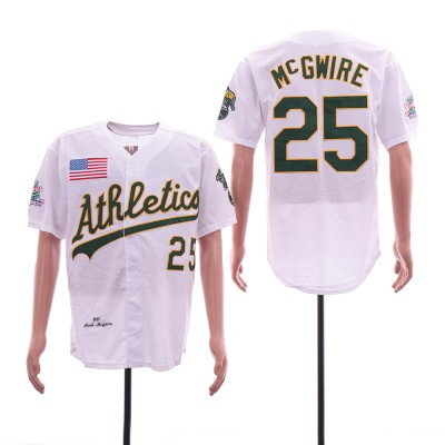 MLB Athletics 25 Mark McGwire White 1989 World Series Cool Base Men Jersey