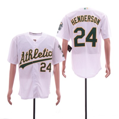 MLB Athletics 24 Rickey Henderson White Cool Base Men Jersey