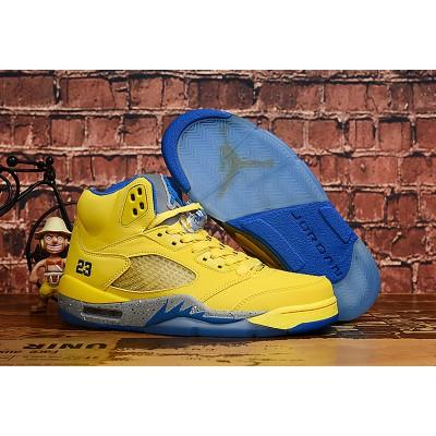 Air Jordan 5 Yellow Blue Shoes
