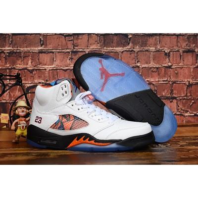 Air Jordan 5 Knicks Blue Orange White Shoes