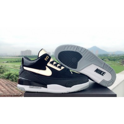 2019 Air Jordan 3 Tinker Black Cement Grey Gold Shoes
