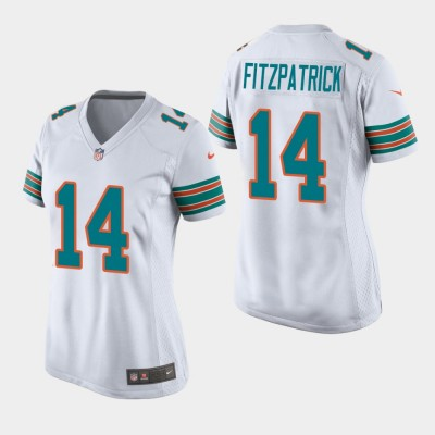 Nike Dolphins 14 Ryan Fitzpatrick 2019 White Throwback Women Jersey