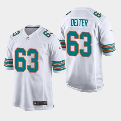 Nike Dolphins 63 Michael Deiter 2019 White Throwback Men Jersey