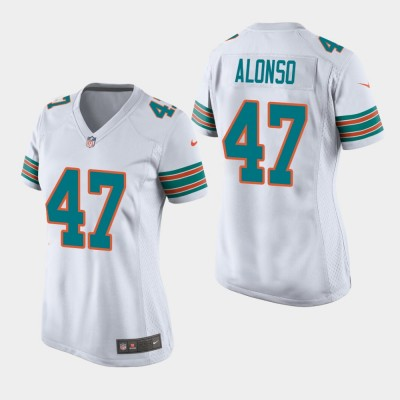 Nike Dolphins 47 Kiko Alonso 2019 White Throwback Women Jersey