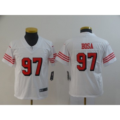 Nike 49ers 97 Nick Bosa White Vapor Untouchable Throwback Limited Youth Jersey