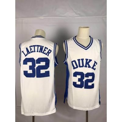 NCAA Duke Blue Devils 32 Christian Laettner White College Basketball Men Jersey