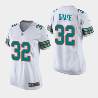 Nike Dolphins 32 Kenyan Drake 2019 White Throwback Women Jersey