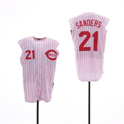 MLB Reds 21 Deion Sanders White Cooperstown Collection Cool Base Sleeveless Men Jersey