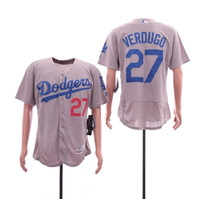 MLB Dodgers 27 Alex Verdugo Gray Flexbase Men Jersey