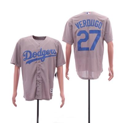 MLB Dodgers 27 Alex Verdugo Gray Cool Base Men Jersey