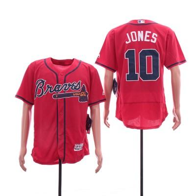 MLB Braves 10 Chipper Jones Red Flexbase Men Jersey