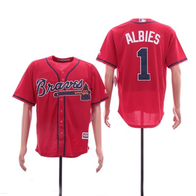 MLB Braves 1 Ozzie Albies Red Cool Base Men Jersey