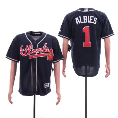 MLB Braves 1 Ozzie Albies Navy Cool Base Men Jersey