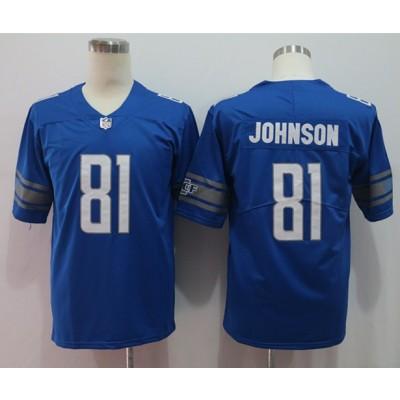 Nike Lions 81 Calvin Johnson Blue Vapor Untouchable Limited Men Jersey