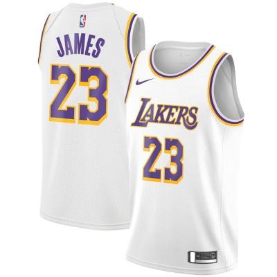 NBA Lakers 23 Lebron James White Nike Men Jersey