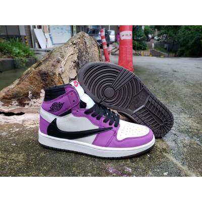 Air Jordan 1 High OG TS SP Black White Purple Shoes