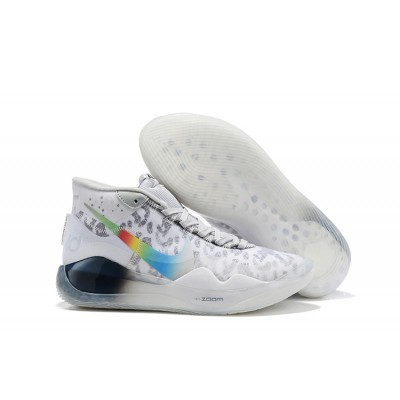 2019 Nike KD 12 White Grey Multi-Color Shoes