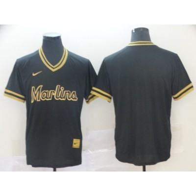 MLB Marlins Blank Black Gold Nike Cooperstown Legend V Neck Men Jersey