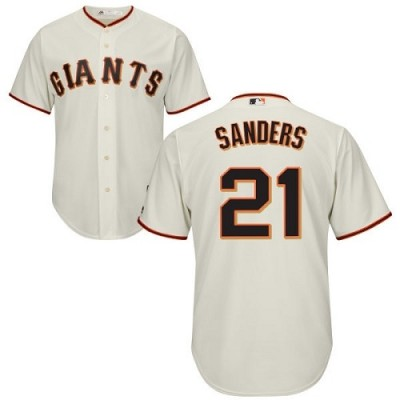 MLB Giants 21 Deion Sanders Cream Cool Base Men Jersey