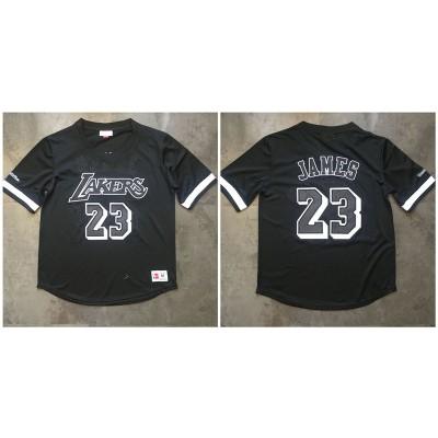NBA Lakers 23 Lebron James Black Short Sleeve Mitchell & Ness Men Jersey